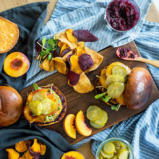 Quinoa Tabbouleh Chickpea Burger with Beet Ketchup & Roasted Peaches.