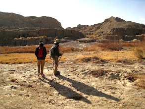 Photo: M & V looking at the small hills above. We were deciding which route to take. The small canyons and washes ahead seemed full of opportunities for an interesting hike.