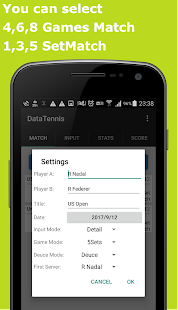 Data Tennis for keeping scores - náhled