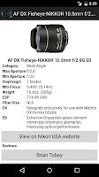 Screenshot of NikonLenses