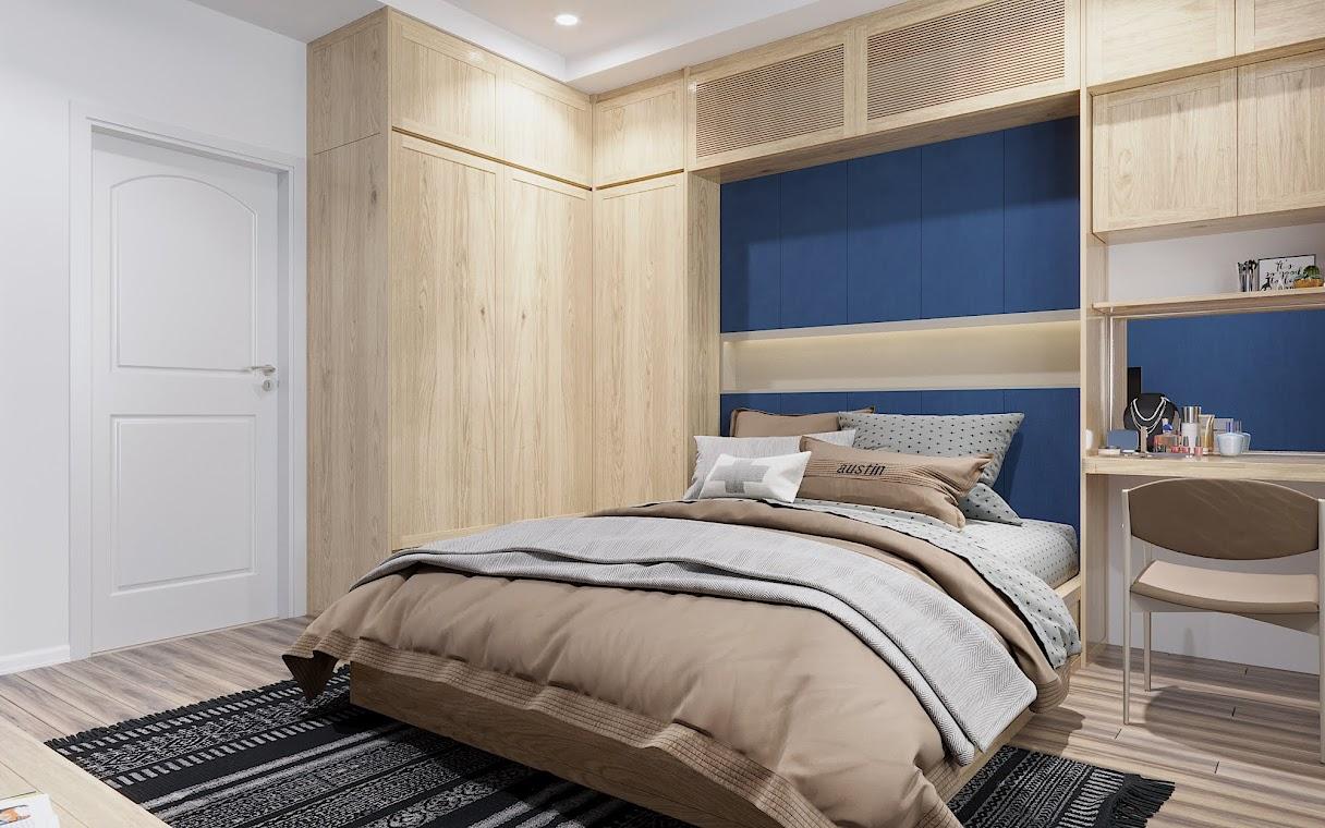"""Thiết kế hình chữ L của bộ tứ """"tủ quần áo - tủ để đồ -  giá sách – bàn học giúp không gian phòng ngủ trở nên thoáng gọn"""