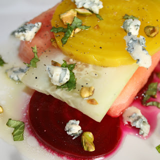 Beet Sandia Cucumber Salad in a Pura Miel Lime Dressing with a Blue Cheese Pistachio Mint dress up!