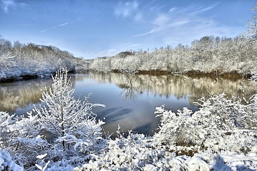 Spring Snow in Galena Ohio  by Karen Gorski - Landscapes Weather ( snow, winter, alum creek, galena ohio )