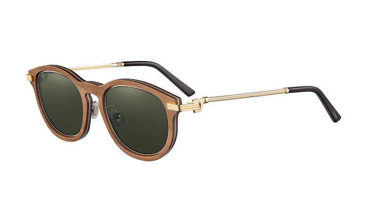 Must de Cartier Sunglasses. Brown wood, gold finish, green polarized lenses, R32,960