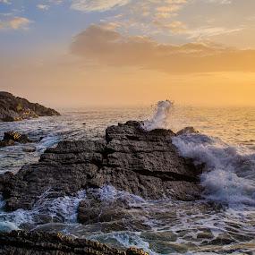 Awakening Ocean by Brad Kalpin - Landscapes Waterscapes ( cliffs, waves, portland head, sunrise )