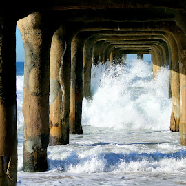 Waves crashing high onto the pier  by LaDonna McCray - Buildings & Architecture Bridges & Suspended Structures ( waves, pier, ocean, blue, wooden, pacific ocean, manhattan, sunny, water, crash )