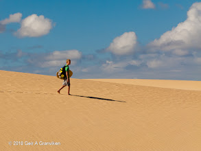 Photo: Walking in the desert Dunas de Corralejo of Fuerteventura (just taking a short cut back from the beach....)