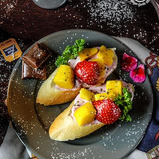 Tropical Bruschetta with Berry Yogurt Cheese