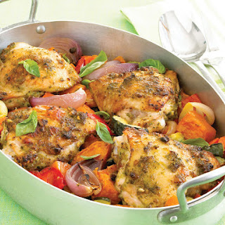 Pesto Chicken with Roasted Vegetables