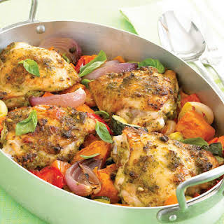 Pesto Chicken with Roasted Vegetables.