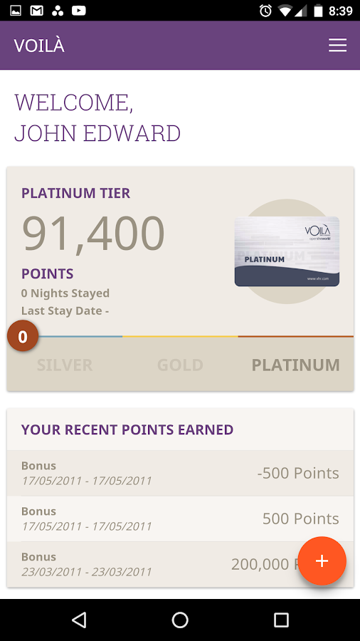 VOILÀ Hotel Rewards- screenshot