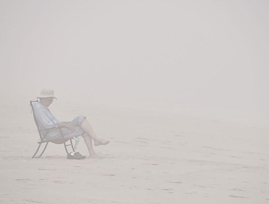 Missing her... by Toni C - People Portraits of Men ( fog, feeling, peace, solitude, beach, people, portrait )