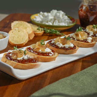 Fig, Goat Cheese and Caramelized Onion Crostini.