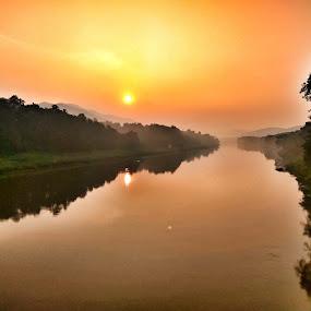 Sun Rise from Riverside by Guru Prasad - Landscapes Sunsets & Sunrises ( beauty of nature, riverside, guru prasad, beauty in nature, sunrise, nature trail, sun )