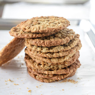 Thin and Chewy Spiced Oatmeal Cookies with Brown Butter Icing.