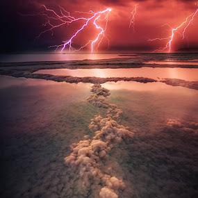 Storm at the Dead Sea by Assi Dvilanski - Landscapes Waterscapes ( salty, clouds, water, dead sea, sea, travel, seascape, landscape, storm, israel, lightning, red, landscapes, light, salt )