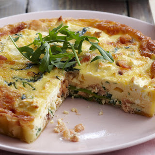 Salmon and Arugula Quiche