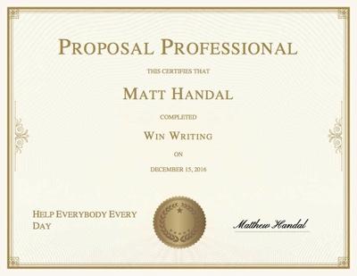 Win Writing certificate