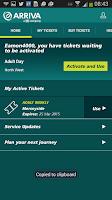 Screenshot of Arriva m-ticket