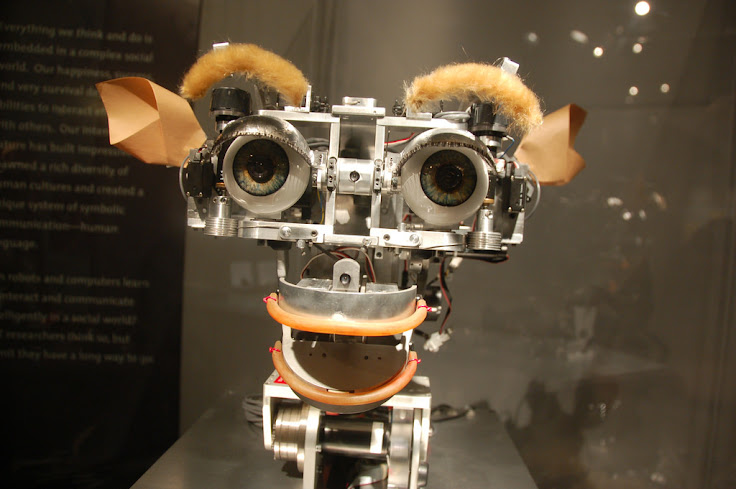 One of the robots that greets you at the MIT Museum.