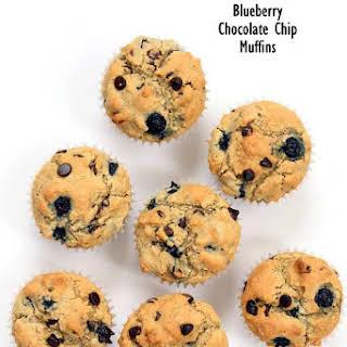 Vegan Gluten free Blueberry Chocolate Chip Muffins.