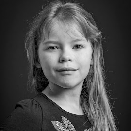8 Year Old Sister Attitude by Jamie Ledwith - Babies & Children Child Portraits ( b&w, black and white, portrait, girl, child, attitude )