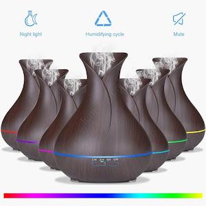 Umidificator si ionizator de aer LED RGB 400 ml, Wenge