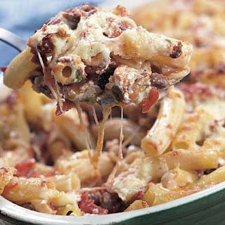 Baked Ziti with Tomato, Mozzarella & Sausage