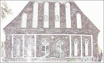 Photo: Schöne Ostfassade der Kirche zu Hohenmocker. Die im 13. Jht. errichtete Kirche wurde überwiegend aus geschlagenen Feldsteinen gemauert, Zierglieder und Giebel sind in Backstein ausgeführt. Zur vorpommerschen Kirchengemeinde Hohenmocker bei Demmin gehören die Kirchen in Utzedel, Roidin, Hohenbüssow, Letzin und Gnevkow.   Adresse: 17111 Hohenmocker / Dorfstraße 23                                                                Tel.Nr.: 004939993 / 70236 E-mail:  hohenmocker@pek.de             Bankverbindung: Kirchengemeinde Hohenmocker                             Kt.nr.: 100 008 980                               BLZ:   15091674                             Volksbank Demmin