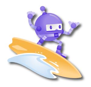Nouvelle mascotte dotnet-bot surfant sur une vague.