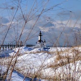 Tiscornia Beach and St. Joseph Lighthouse by Jennifer Smusz - Landscapes Beaches ( #puremichigan, #lighthouse, #beach, #snowy #winter )
