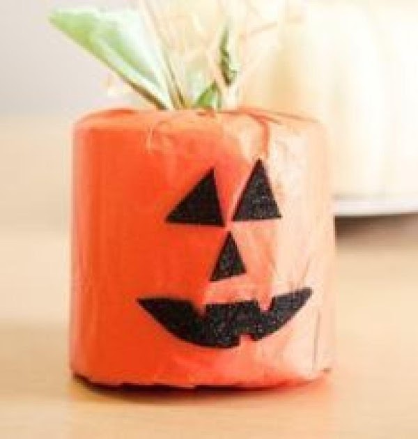 Halloween pumpkins.  orange tissue paper, some green ribbon, and a little black construction paper will...