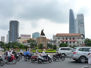 Photo: Saigon - park next to Pham Ngu Lao with people dancing at morning and ringroad next to PNL