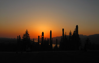 Photo: This photo was taken on 22 April 2011 when the sky was clear at the same place: Totem poles created by Japanese artists on Burnaby mountain
