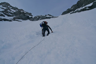 Photo: First part. 60 - 70 degrees. Climbing the ridge.