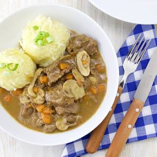 German beer beef stew with Knödeln (potato dumpling)