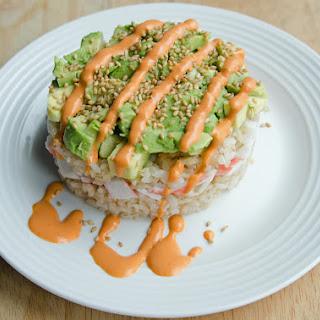 Crab and Avocado Sushi Stack.