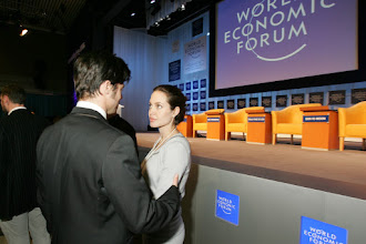 Photo: DAVOS/SWITZERLAND, 26JAN06 - Angelina Jolie und Brad Pitt captured during the session 'A New Mindset for the UN' at the Annual Meeting 2006 of the World Economic Forum in Davos, Switzerland, January 26, 2006. 