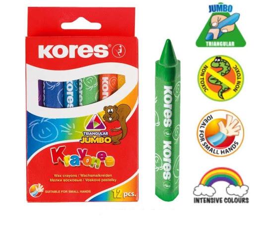 colores cera kores triangulares jumbo 12 und