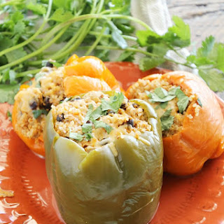 Light Crock Pot Chicken Stuffed Peppers