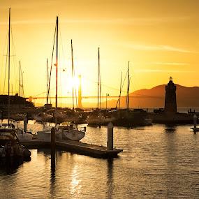 Capture the moment by Torsten Funke - Landscapes Sunsets & Sunrises ( bay, sunset, boats, harbour, cityscape, marina, bay area, boat, san francisco, city, golden hour,  )