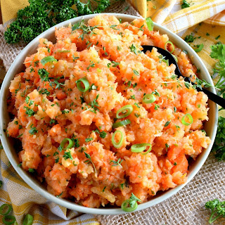 Mashed Turnip and Carrots with Herb Butter.