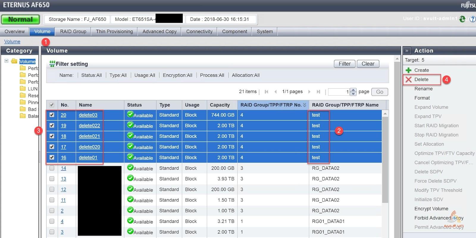 Delete Raid Group, volumes on ETERNUS AF650 #2