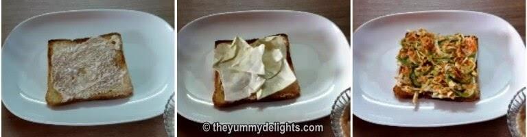 Spread the cabbage salad to prepare the sandwich