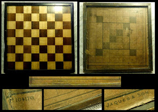 "Photo: An interesting board that recently (Feb 2015) appeared on eBay:  12.25in sq. by 1 1/8in deep.  The board was described as:  ""AN ANTIQUE INLAID WOODEN DOUBLE SIDED GAMES BOARD..CHESS..DRAUGHTS..JAQUES & SON""  The reverse of the board (top right) has an undoubtedly genuine Jaques paper Reversi board glued to it. The Registered no. (bottom left) dates this to 1889.   However, the board does not 'look' like a genuine Jaques board and a little research shows that the Reversi game was marketed in cardboard boxes with a fold-up paper board.   It looks very much as if such a Reversi board has been attached to a non-Jaques board - although this may well have happened long ago.  One can only assume that other viewers thought the same, as the board sold for £172 - less than one might expect if it were made by that firm."