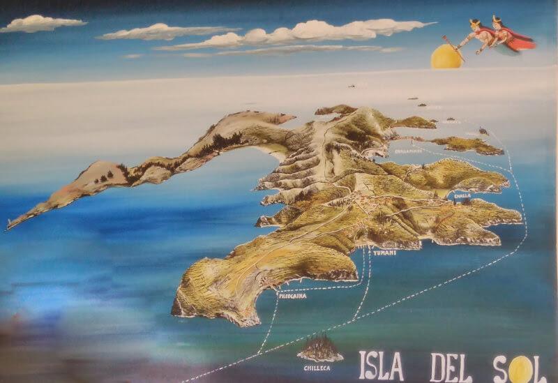 isla del sol map copacabana el lago titicaca bolivia