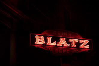 Photo: drink blatz beer #beer #sign #nightphotography #signage