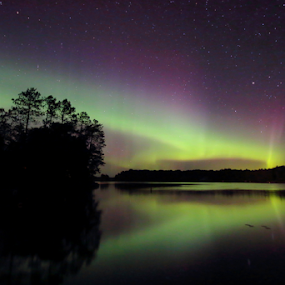 Nothern Lights #1 by Skip Spurgeon - Landscapes Starscapes ( wisconsin, northern lights, aurora borealis, reflections, northwoods )