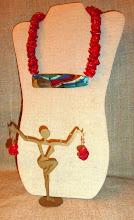 Photo: <BEREHYNYA> {Great Goddess Protectress} unique one-of-a-kind statement jewellery by Luba Bilash ART & ADORNMENT  # 128 COASTAL BEAUTY ~ ПРИБЕРЕЖНА КРАСА - copper enamel pendant, coral, 14K gold vermeil $160/set N/A Ivan Franko Ukr. Courses Silent Auction Mar 2015