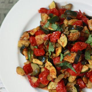 Roasted Zucchini & Tomatoes (gf, df, v).